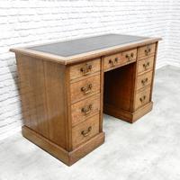 19th Century Oak Pedestal Desk (2 of 8)