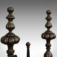 Pair of Antique Decorative Fire Rests, Wrought Iron Fireside Andirons, Victorian (6 of 7)
