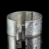Antique Victorian Floral Cuff Bangle Silver Gold c.1890 (3 of 6)