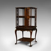 Antique Revolving Library, English, Walnut, Bookcase Table, Edwardian c.1910