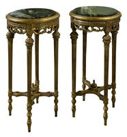 Pair of French Giltwood Carved Marble Top Stands