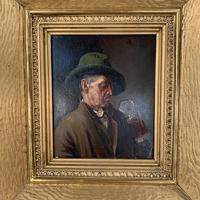 Antique Dutch Oil Painting Portrait of a man drinking ale (10 of 10)