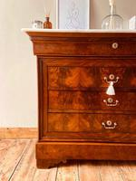 Flamed Mahogany Chest of Drawers / Sideboard / Commode with Marble (5 of 8)