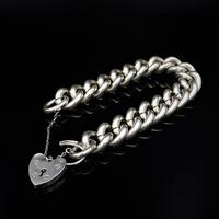 Vintage Heavy Chunky Heart Padlock Sterling Silver Curb Bracelet (5 of 10)