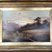 Antique Victorian Large Landscape Oil Painting in Ornate Gilt Gesso Frame Signed H Jones (3 of 10)