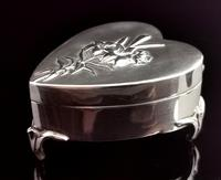Antique Heart Shaped Silver Jewellery Box, Art Nouveau, William Comyns (6 of 15)