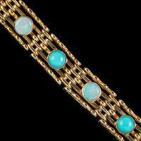 Antique Edwardian Opal Turquoise Gate Bracelet 9ct Gold Walker & Hall c.1901 (5 of 7)