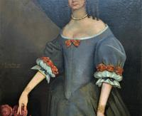 Huge Period Antique 3/4 Length Oil Portrait Painting of 17th Century Lady (8 of 13)