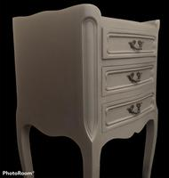 Vintage French Bedside Cabinets Painted in Rustic Grey (2 of 5)