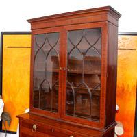 Secretaire Bureau Bookcase Astragal Glazed Mahogany (13 of 17)