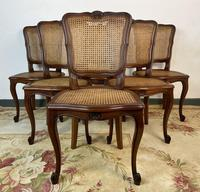 Vintage French Louis Style Set Of 6 Cherry Wood Bergère Cane Dining Chairs (2 of 10)