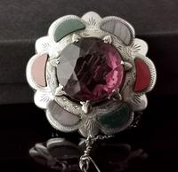 Victorian Scottish Agate & Amethyst Brooch, Sterling Silver (6 of 11)