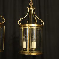 French Pair Convex Triple Light Antique Lanterns (8 of 9)