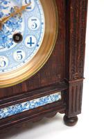 Fine Antique Arts & Crafts Mantel Clock – 8-day Carved Delftware Striking Mantle Clock (10 of 11)