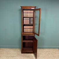 Tall Slim Victorian Mahogany Antique Bookcase on Cupboard (9 of 10)