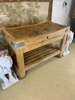 Early 20th c Butchers Block On Pine Stand (2 of 7)