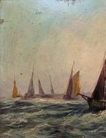 19thc (British School) Fishing Boats In Rough Seas Oil On Board Painting (7 of 13)