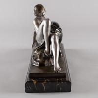 Stunning French Art Deco Bronze & Silvered Sculpture. Signed A.Ouline - Lady & Panther (5 of 11)