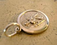 Vintage Pocket Watch Chain Silver St Christopher Fob 1970s Dainty Silver Fob (4 of 7)