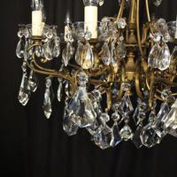 Italian 10 Light Gilded & Crystal Chandelier (6 of 10)
