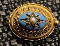 Victorian Yellow Metal, Enamel & Seed Pearl Brooch c.1860 (3 of 3)