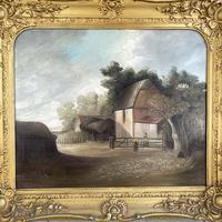Antique Large Victorian Landscape Oil Painting of a Farm Signed J Howard (3 of 10)