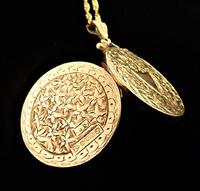 Edwardian Hallmarked 9ct Gold Engraved Locket with Necklace Chester Assayed (8 of 9)