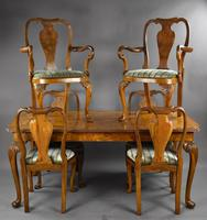 Queen Anne Style Burr Walnut Table & Chairs c.1920