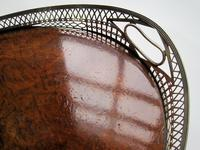 Victorian Oval Silver & Inset Walnut Gallery Tray (2 of 11)
