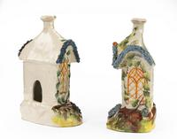 Pair of Staffordshire Pottery Pastille Burner in the Form of Houses (3 of 4)