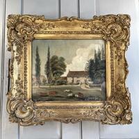 Antique Landscape Oil Painting of Farmhouse with Cows & Sheep (3 of 10)