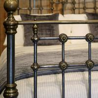 Late Victorian Cast Iron, Steel & Brass Antique Bed (5 of 9)