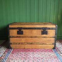 Antique French Steamer Trunk Coffee Table Old Rustic Chest and Key + Original Interior (2 of 12)