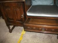 Carved Oak Linenfold Hall Seat (2 of 2)