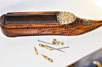 A finely carved 18th century fruitwood cribbage board /box in the shape of a shoe (2 of 7)