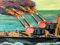 "Large Seascape Oil Painting WW2 Battle ""HMS Battleship Hood The Last Moments"" (5 of 12)"