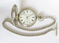 Antique Denco Silver Hunter Pocket Watch, Military History (3 of 7)