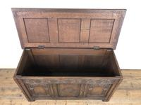 Early 20th Century Carved Oak Coffer or Blanket Box (5 of 12)
