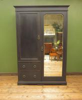 Antique Black Painted Double Wardrobe with Mirror in 4 Parts, Gothic Shabby Chic (2 of 17)