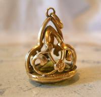 Antique Pocket Watch Chain Fob 1910 Art Nouveau Big Rose Gilt & Green Stone Fob (8 of 9)
