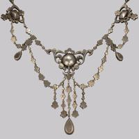 Antique Festoon Georgian Necklace Pink & Clear Paste Silver Swag Necklace c.1800 (9 of 9)