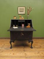 Vintage 1930s Black Writing Bureau Desk with Presentation Plaque, Lockable (21 of 22)