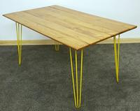 1960/70s Hairpin Legged Table With Later Pitch Pine Top (4 of 6)