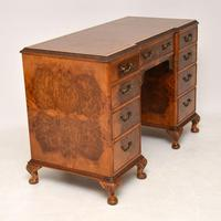 Antique Queen Anne Style Burr Walnut Leather Top Desk (5 of 11)