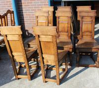 1960's Oak Refectory Table with Set 8 Jacobean style Oak Highback Dining Chairs (5 of 7)