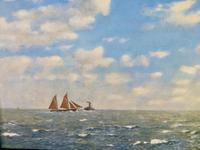 1935 Seascape Oil Painting Fishing Boat & Tug Signed by Harry Bush