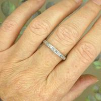 Antique Art Deco platinum diamond full eternity wedding band c1920's ~ Size Q / 8 (5 of 10)