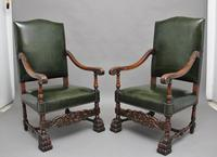 Pair of Early 20th Century Carved Armchairs in the Carolean Style