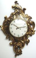 Impressive French Carved Cartel Wall Clock 8 Day Movement Scrolling leaf design 84cm High (10 of 13)