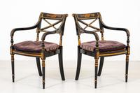 Pair of Ebonised Regency Style Open Armchairs (5 of 9)